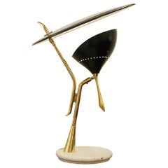 Lumen Milano Table Lamp in Brass and Marble, Italy, 1950s