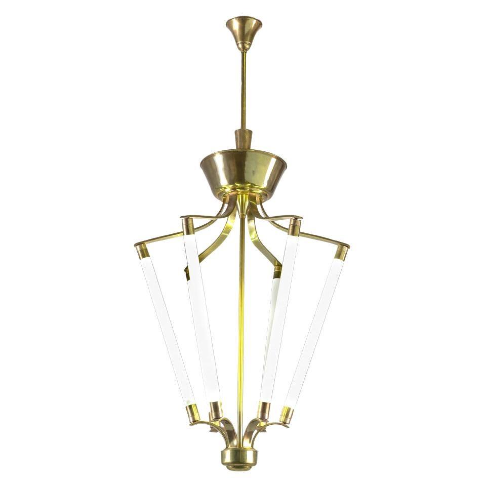 Lumen Neon Chandelier with Metal and Brass Structure, Italian Design, 1940s