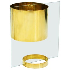 Lumenform Mid-Century Modern Glass and Brass Italian Table Lamp