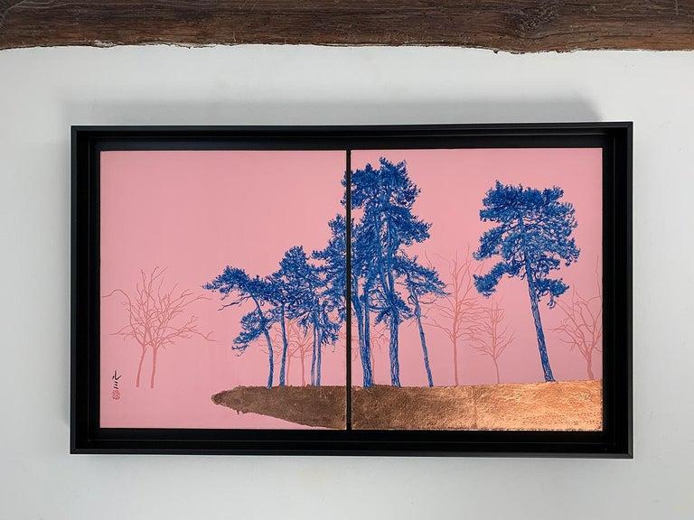 Blue Pines - Day Porters, Japanese landscape painting - Painting by Lumi Mizutani