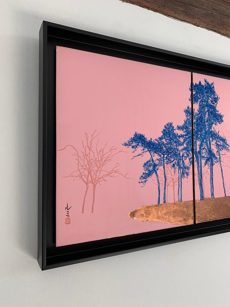 Blue Pines - Day Porters, Japanese landscape painting - Contemporary Painting by Lumi Mizutani