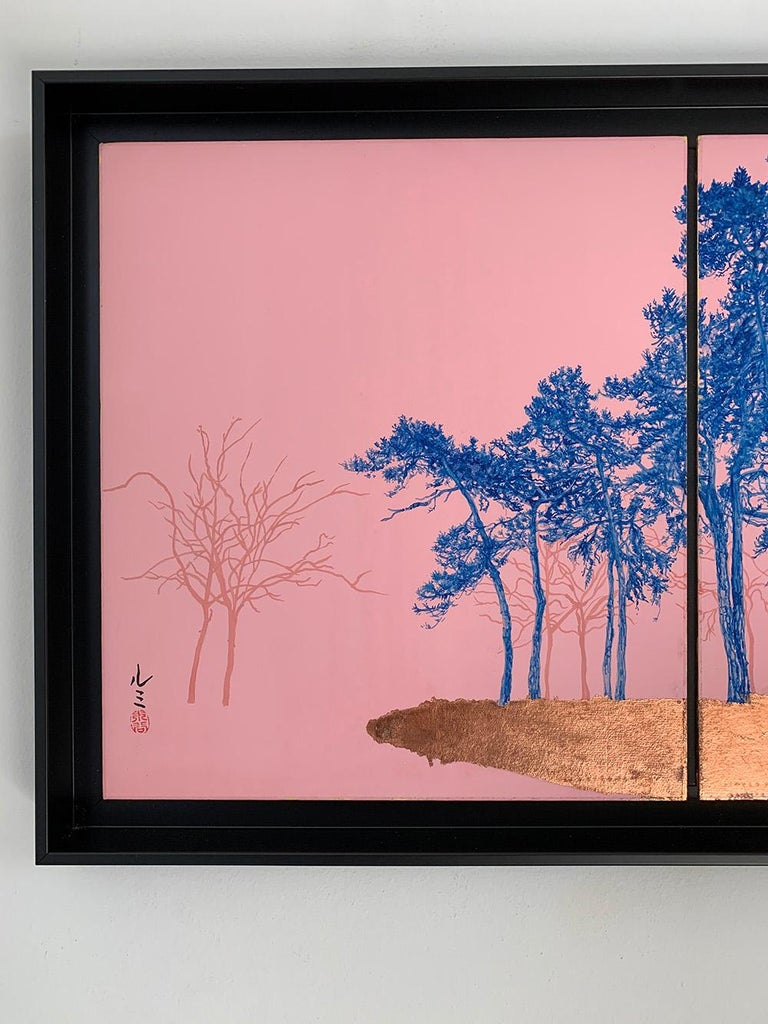Blue Pines - Day Porters is a diptych painting by French-Japanese contemporary artist Lumi Mizutani. Chinese painting, copper leaves on Japanese cardboard.  composed of two panels, 27,3  cm x 24,2 cm each. Sold framed. Dimensions framed: 31.5 x 53