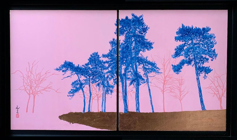Lumi Mizutani Landscape Painting - Blue Pines - Day Porters, Japanese landscape painting