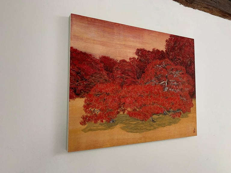 Chatty Trees, Japanese Style Landscape Painting For Sale 2