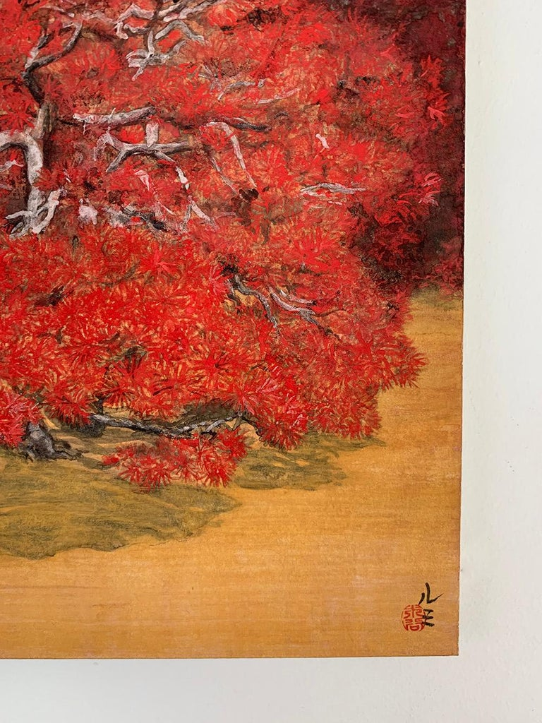 Chatty Trees, Japanese Style Landscape Painting For Sale 3