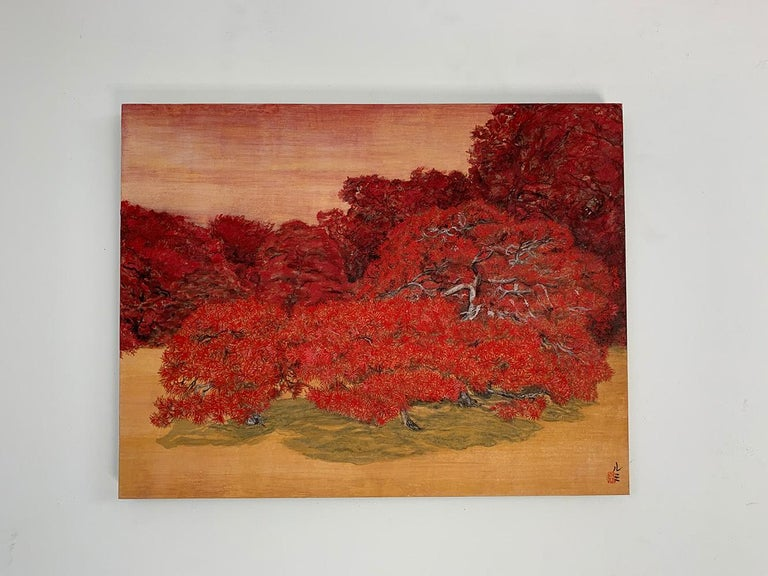 Chatty Trees, Japanese Style Landscape Painting For Sale 1