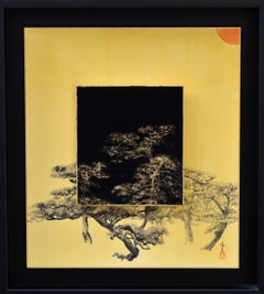 Day and Night - Pine tree (Japanese landscape painting with gold ink)