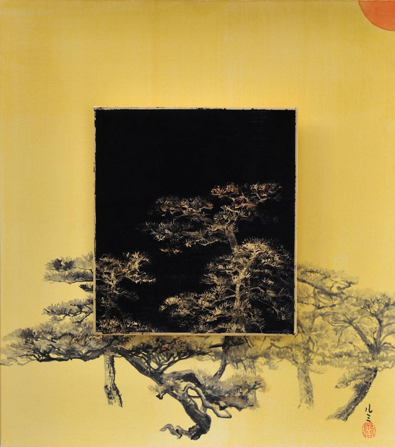 Lumi Mizutani - Day and Night - Pine tree, Painting For Sale at 1stdibs
