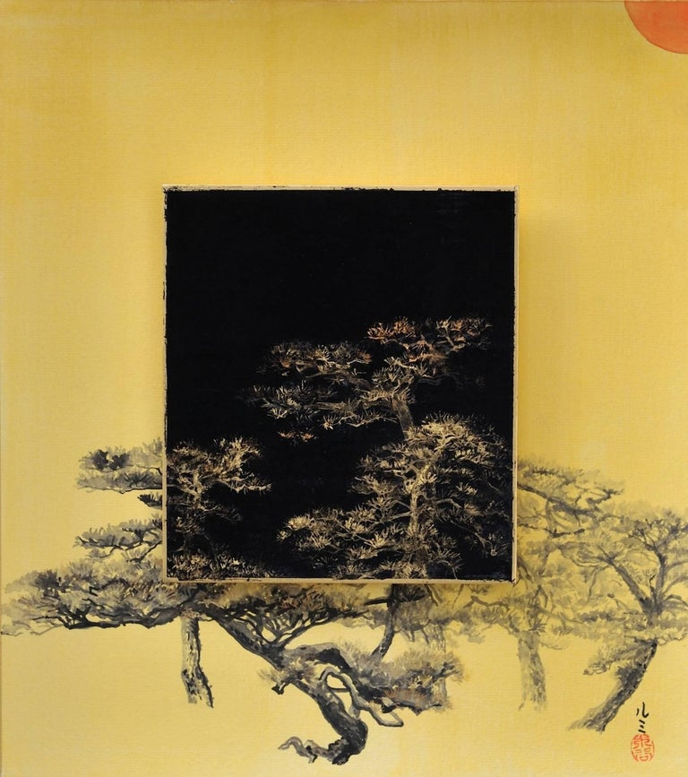 Lumi Mizutani Landscape Painting - Day and Night - Pine tree