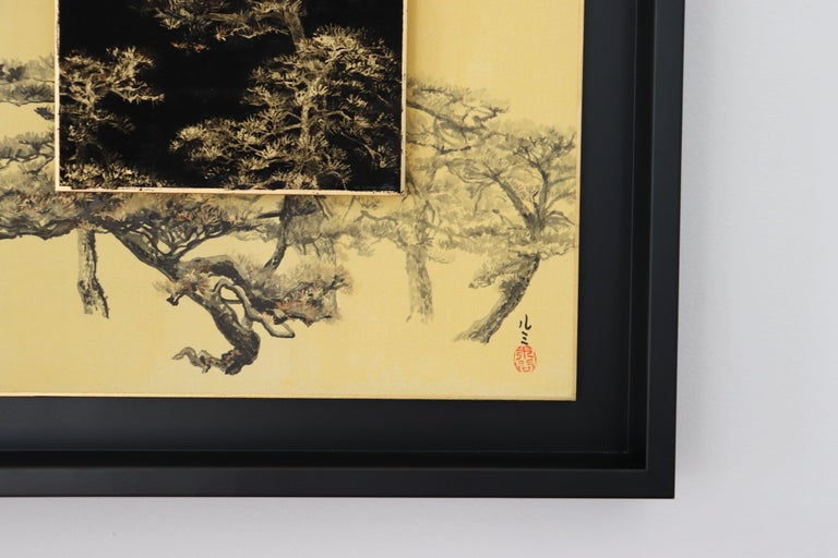 Day and Night - Pine tree - Gold Landscape Painting by Lumi Mizutani