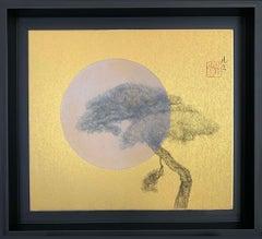 In the moonlight by Lumi Mizutani - Japanese Style Landscape painting, golden