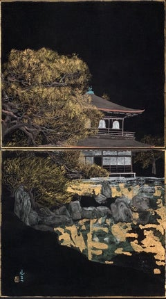 Landscape of Kyoto - Silver pavilion, Japanese landscape painting