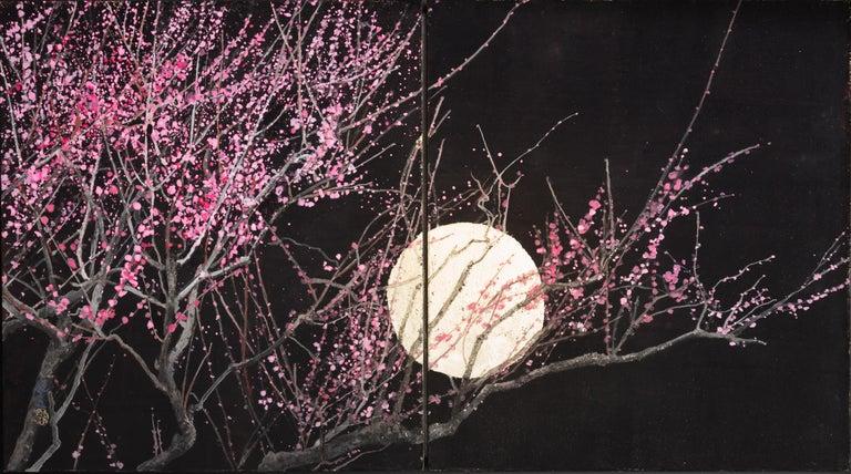 Nocturn III, Japanese Painting - Gold Landscape Painting by Lumi Mizutani