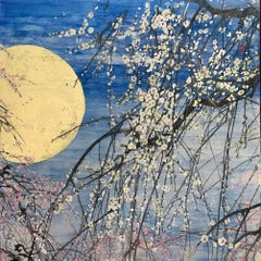 Plum Trees and the Moon III, Japanese Style Landscape Painting