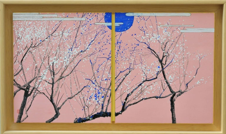 Plums in the blue moon, Japanese landscape painting - Painting by Lumi Mizutani