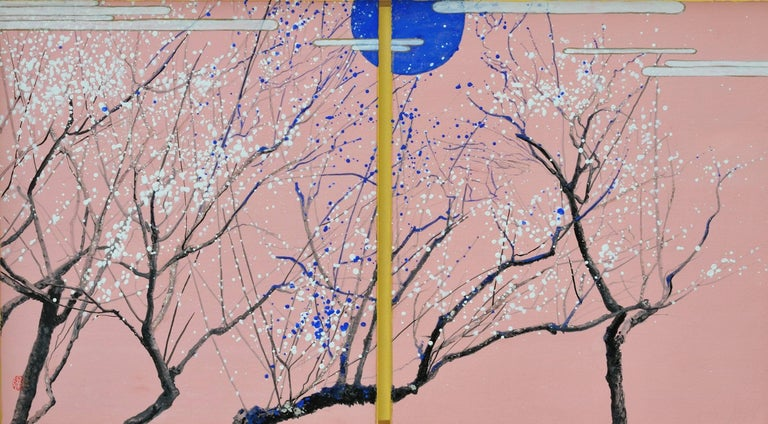 Lumi Mizutani Landscape Painting - Plums in the blue moon, Japanese landscape painting