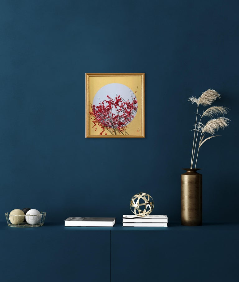 The High Line by Lumi Mizutani - Japanese Style Landscape painting, gold and red For Sale 1