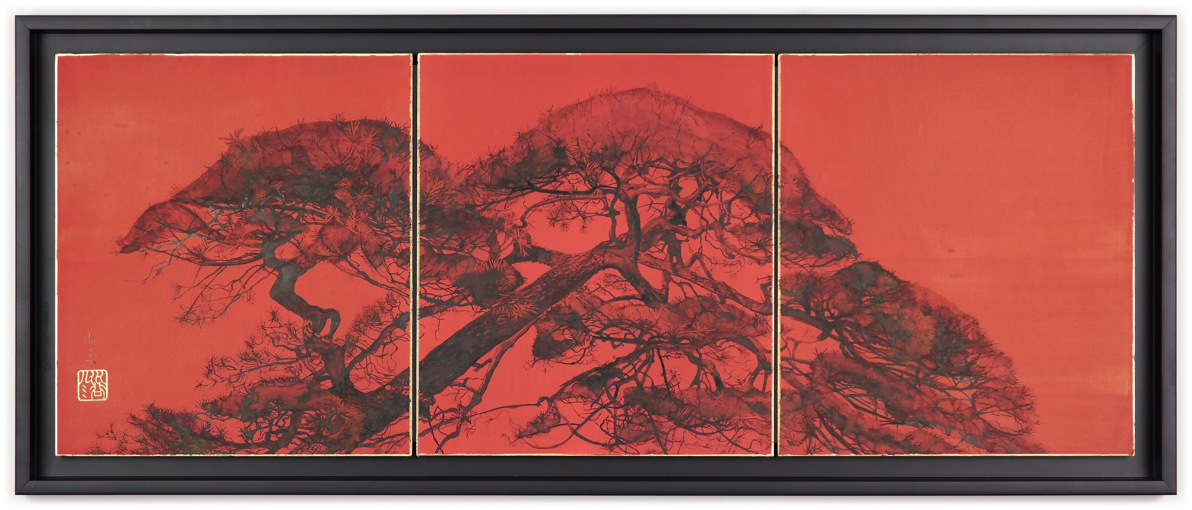 Tilted Pine II by L. Mizutani - Japanese-style painting, red triptych, landscape