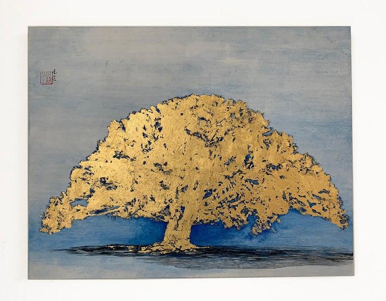 Untitled VI by Lumi Mizutami, Japanese landscape painting, tree, gold leaf - Painting by Lumi Mizutani