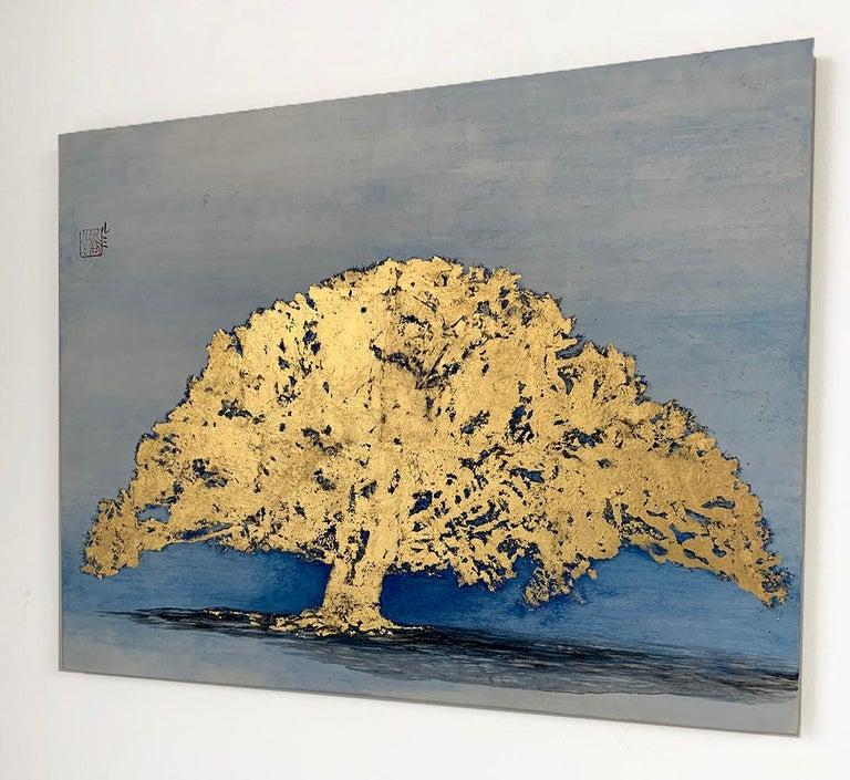 Untitled VI by Lumi Mizutami, Japanese landscape painting, tree, gold leaf - Contemporary Painting by Lumi Mizutani