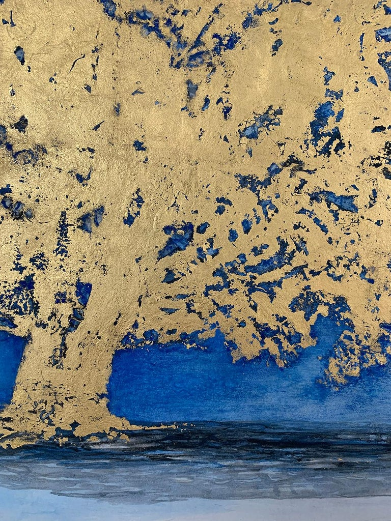Untitled VI by Lumi Mizutami, Japanese landscape painting, tree, gold leaf - Gray Landscape Painting by Lumi Mizutani