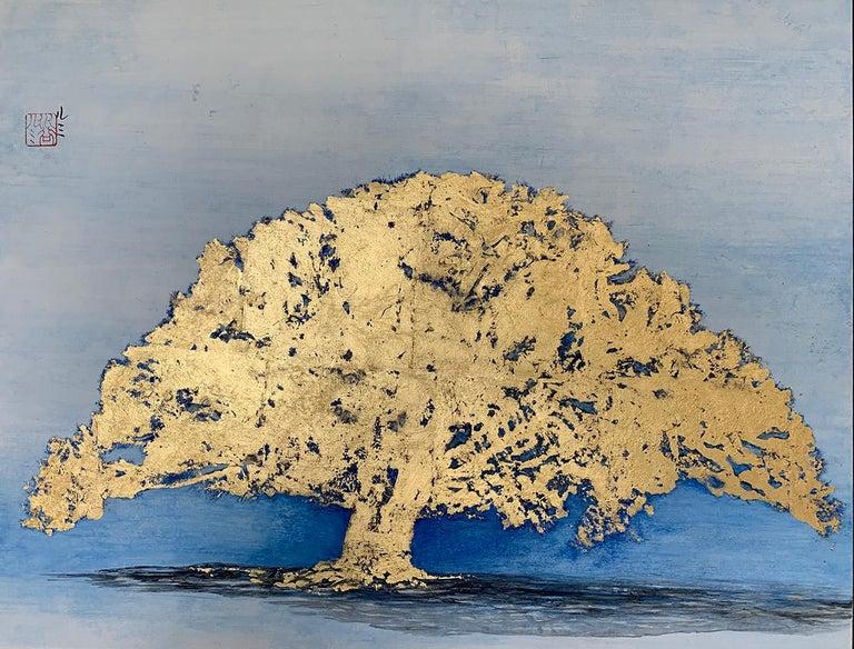 Lumi Mizutani Landscape Painting - Untitled VI by Lumi Mizutami, Japanese landscape painting, tree, gold leaf