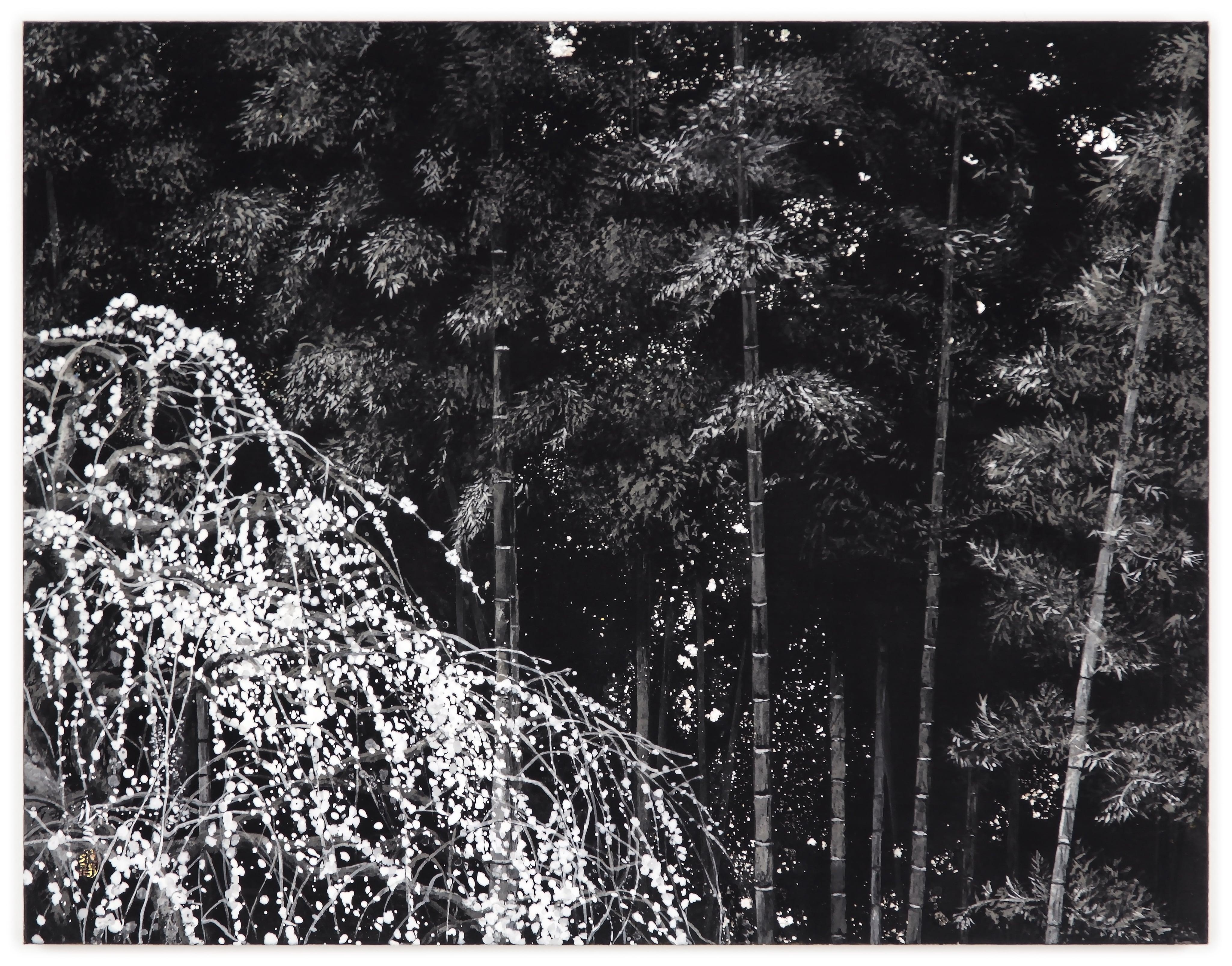 Weeping Plum Tree IV by Lumi Mizutani, Japanese Style Landscape Painting