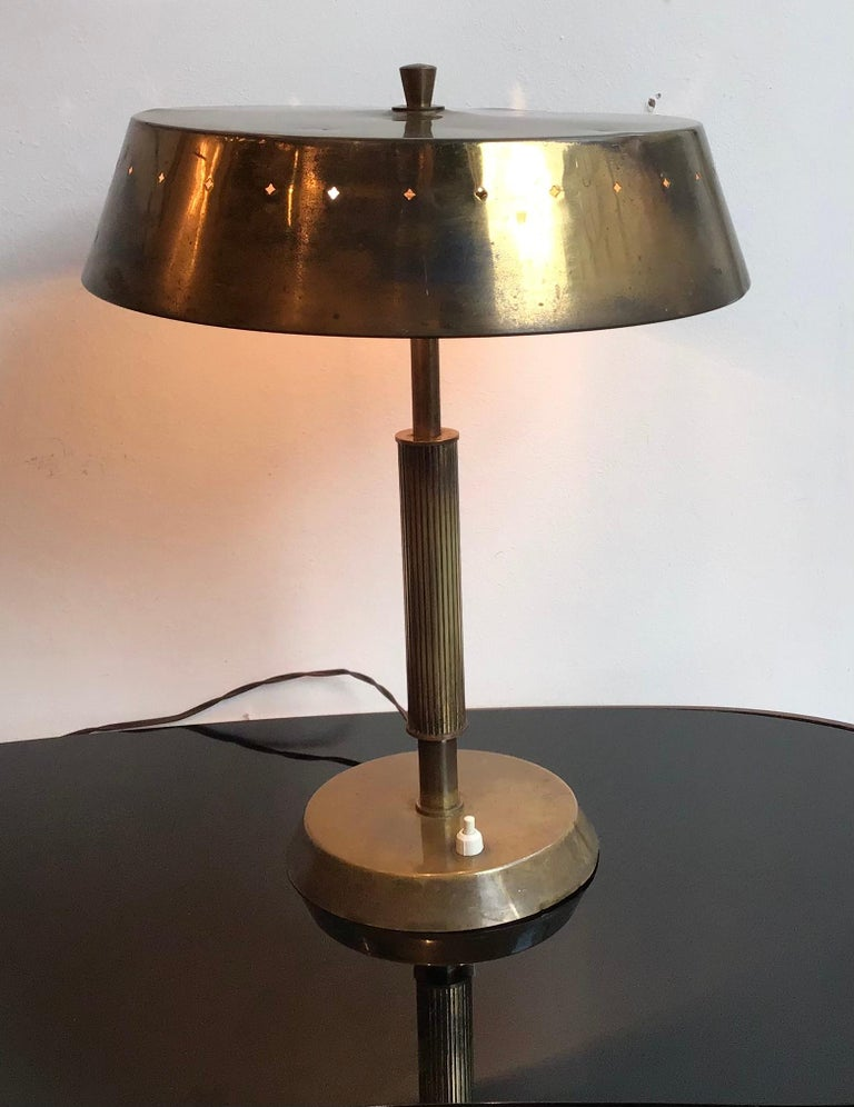 Lumi table lamp brass, 1945, Italy.