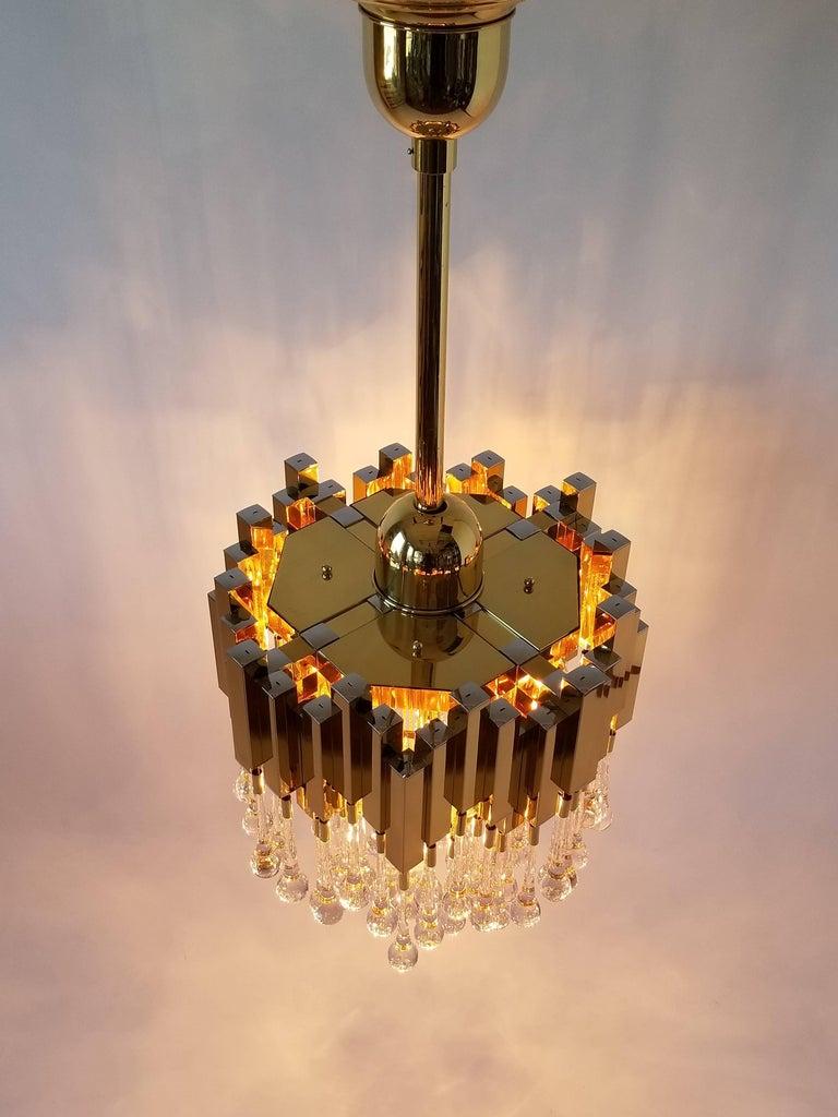 1970s , Lumica Barcelona Brass Teardrop Chandelier  , Spain For Sale 3