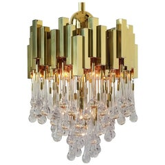 1970s , Lumica Barcelona Brass Teardrop Chandelier  , Spain