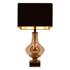Lumica Midcentury Golden Brass and Glass Table Lamp with Black Shade, 1970s