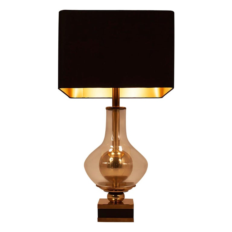 Lumica Midcentury Golden Brass and Glass Table Lamp with Black Shade, 1970s For Sale