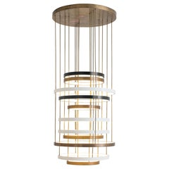 Lumiere 11 Rings Ceiling Lamp in Oxidised Brass and Opal Perspex by Dimoremilano