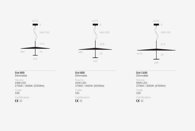 Suspended lamp for indirect lighting with a 20W LED source and diffused light optic system. aluminium structure with steel matte-painted reflector. This item is also available in a medium and large size on 1stdibs.  Dimmable Source: 1× 20W