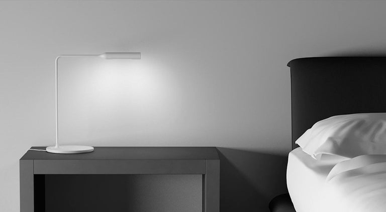 Italian Lumina Flo Bedside Lamp in Black Soft-Touch by Foster+Partners For Sale