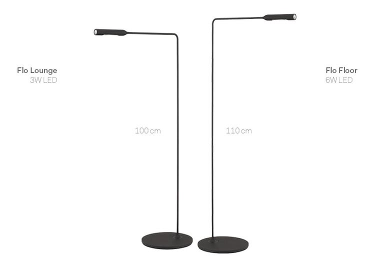 Modern Lumina Flo Floor Lamp in Black by Foster+Partners For Sale