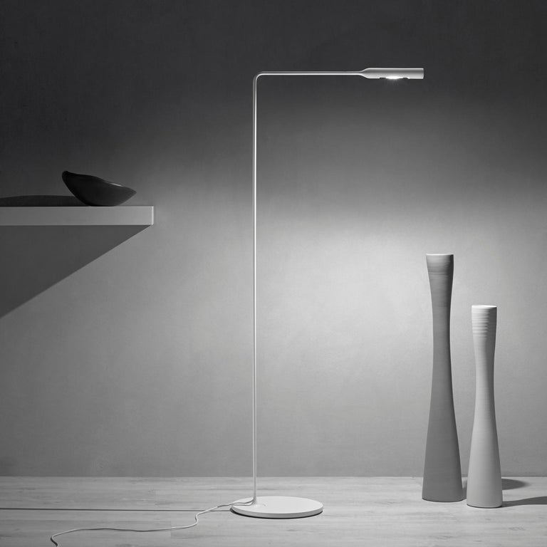 Italian Lumina Flo Lounge Floor Lamp in Brushed Nickel by Foster+Partners For Sale