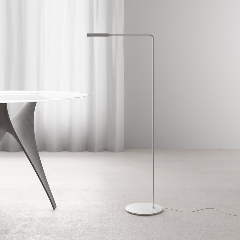 Contemporary Lumina Flo Lounge Floor Lamp in Brushed Nickel by Foster+Partners For Sale