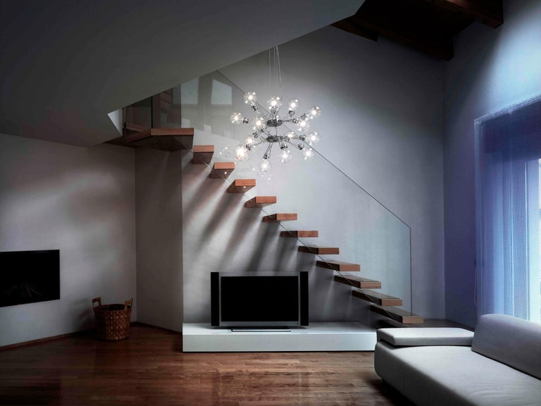 Italian Lumina Matrix Doppia Suspension Lamp in Black by Yaacov Kaufman For Sale