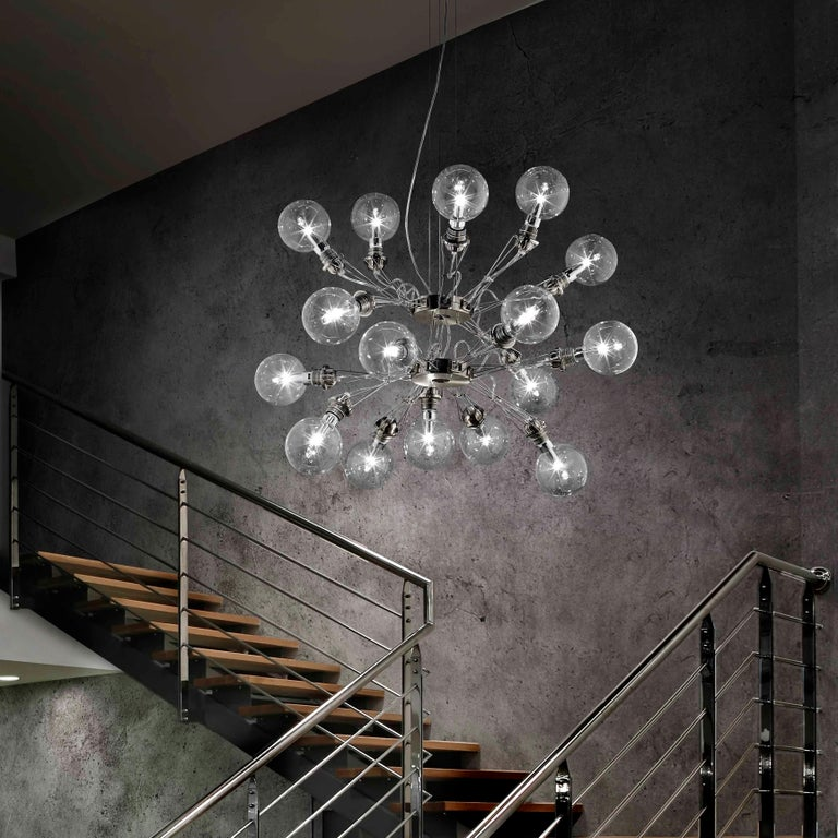 Modern Lumina Matrix Doppia Suspension Lamp in Brushed Nickel by Yaacov Kaufman For Sale