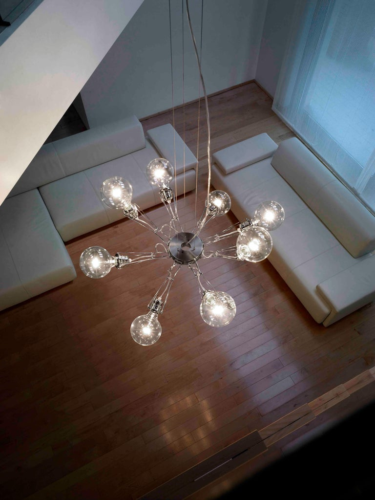 Modern Lumina Matrix Otto Suspension Lamp in Brushed Nickel by Yaacov Kaufman For Sale