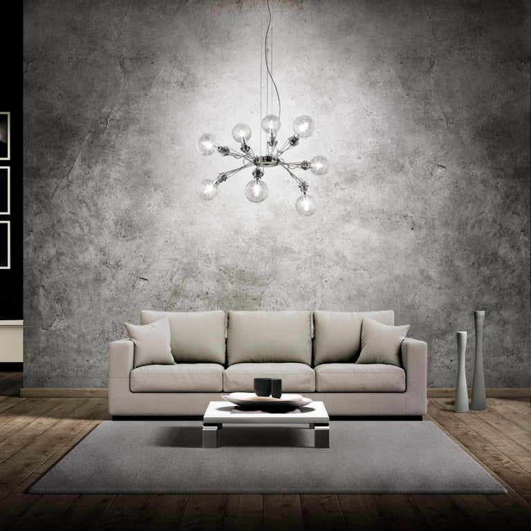 Italian Lumina Matrix Otto Suspension Lamp in Brushed Nickel by Yaacov Kaufman For Sale