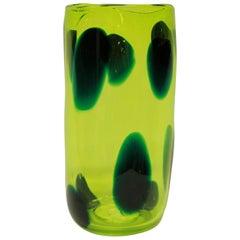 Luminescent Yellow Glass Vase