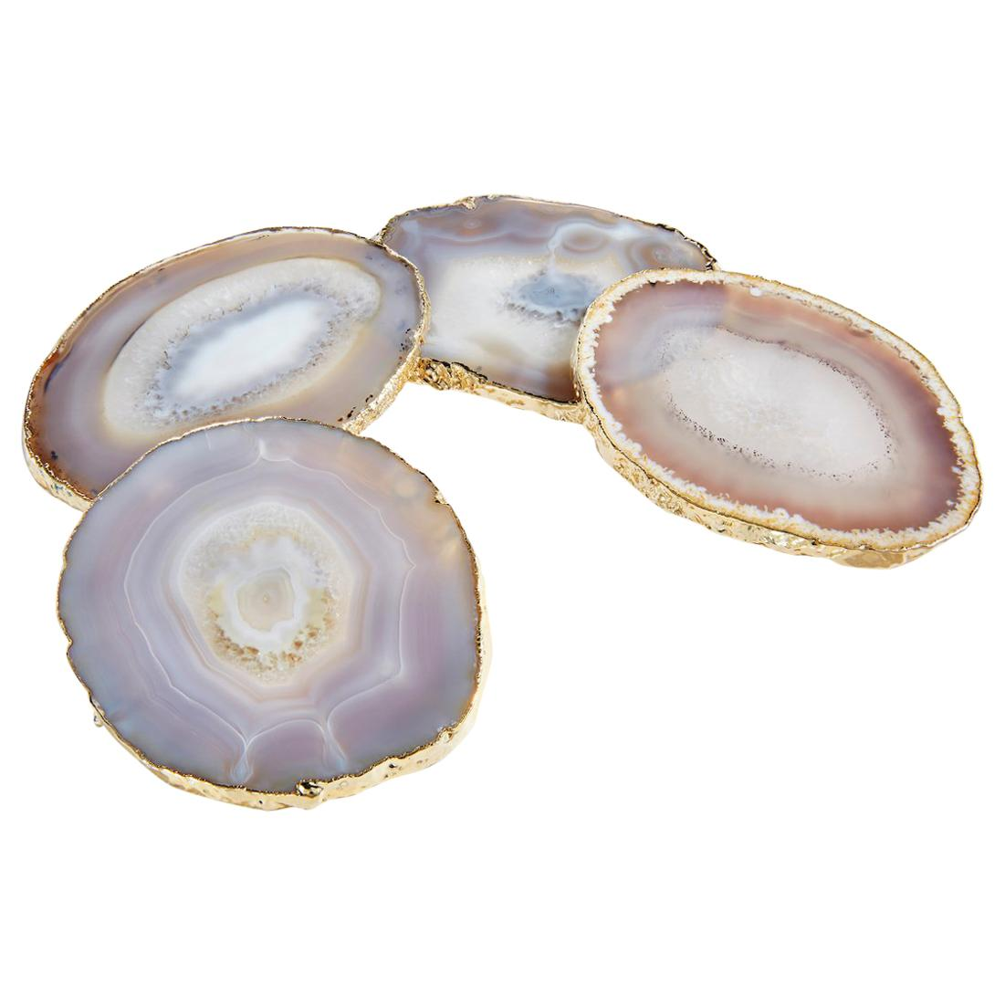 Lumino Coasters in Smoke Agate and 24k Gold by ANNA New York