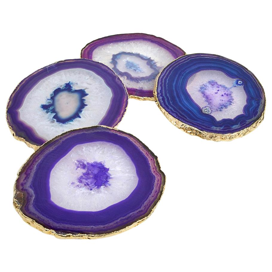 Lumino Coasters in Eggplant Agate and 24-Karat Gold by ANNA new york