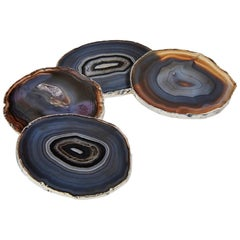 Lumino Coasters in Midnight Agate and 24-Karat Pure Silver by ANNA new york