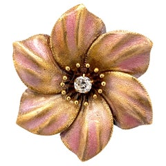 Luminous Antique Gold and Enamel Pansy Pin