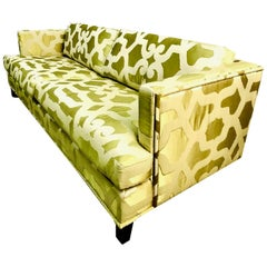 Luminous French Chartreuse Silk Quatrefoil Custom Contemporary 3-Seat Sofa