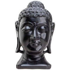 Luminous Hand Carved Makrana Marble Black Buddha Head from Agra India