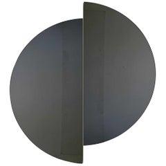 Luna™ 2 Half-Moon Pieces Black Tinted Round Frameless Minimalist Mirror, Large